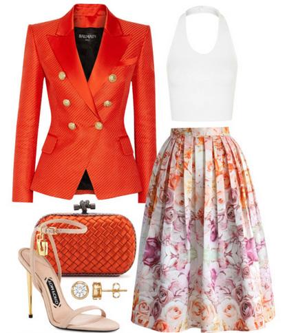 what-to-wear-for-a-spring-wedding-guest-outfit-white-midi-skirt-floral-print-white-crop-top-orange-jacket-blazer-tan-shoe-sandalh-studs-orange-bag-clutch-dinner.jpg