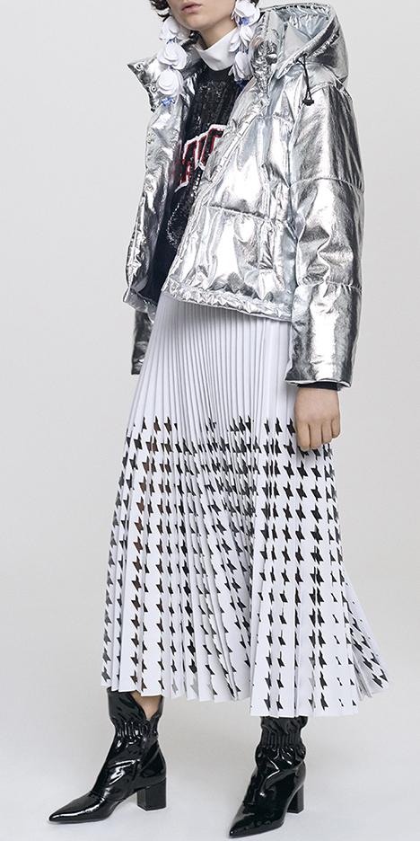 white-midi-skirt-pleated-grayl-jacket-coat-puffer-black-sweater-sweatshirt-black-shoe-booties-silver-metallic-fall-winter-weekend.jpg