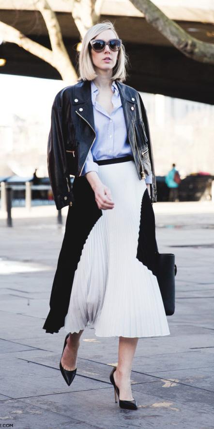 white-midi-skirt-blue-light-collared-shirt-black-jacket-moto-black-shoe-pumps-fall-winter-blonde-work.jpg