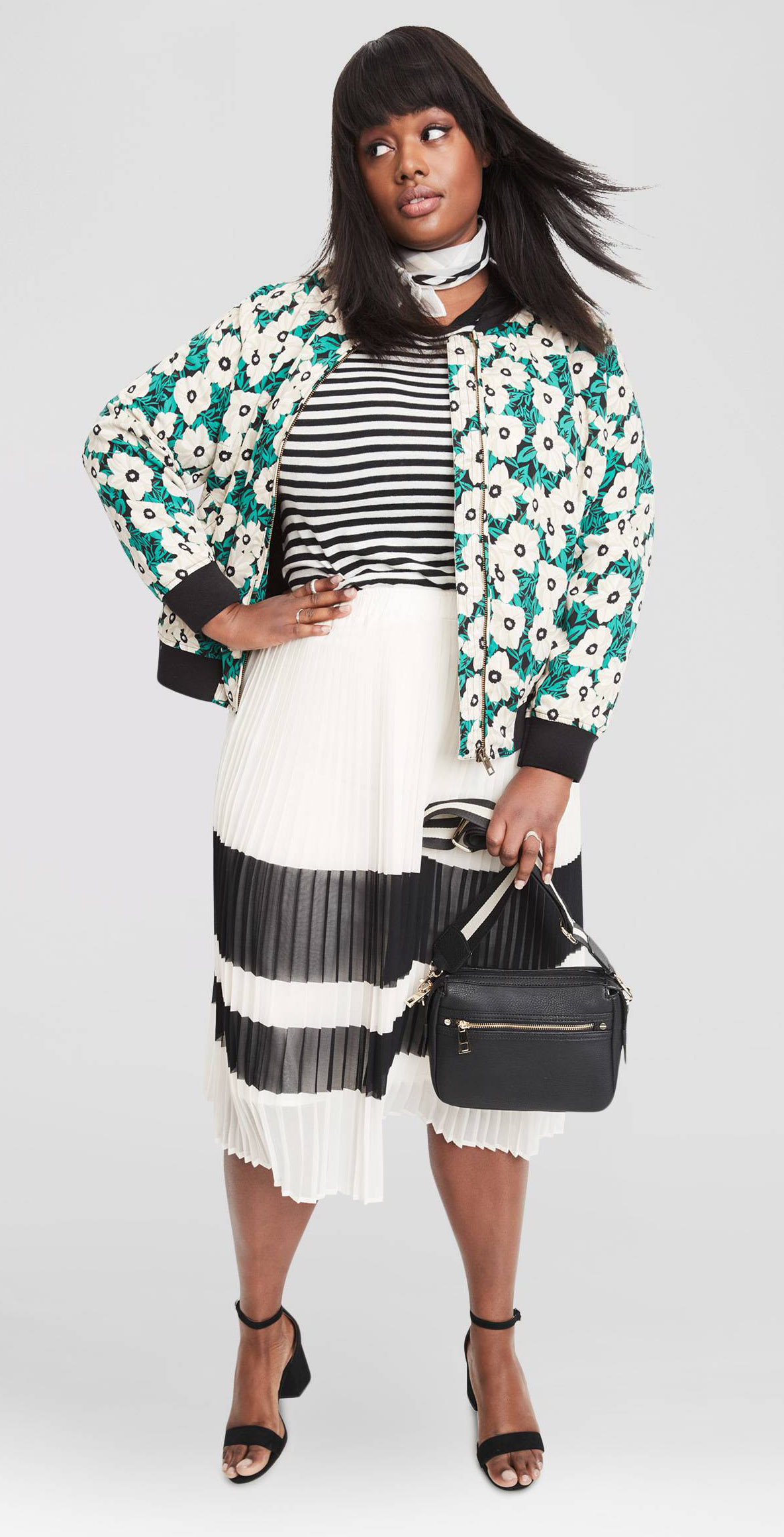 white-midi-skirt-stripe-black-tee-stripe-green-emerald-jacket-bomber-floral-print-white-scarf-neck-bandana-black-bag-black-shoe-sandalh-mix-outfit-spring-summer-brun-dinner.jpg