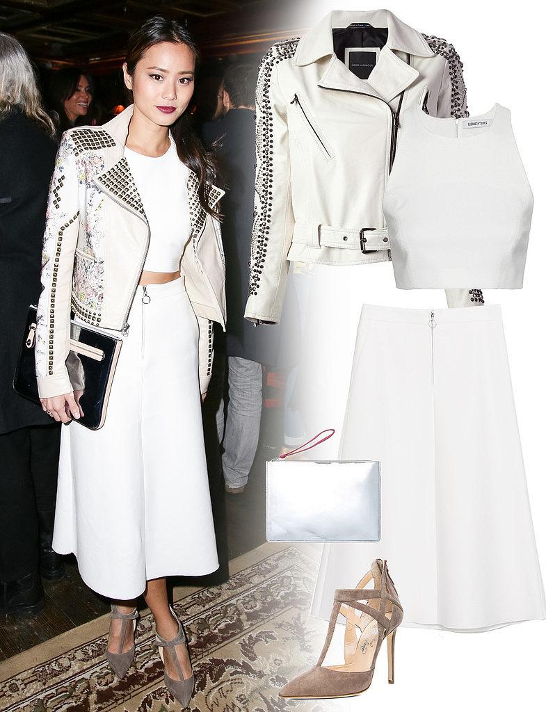 white-midi-skirt-white-top-crop-match-white-jacket-moto-gray-bag-clutch-metallic-tan-shoe-pumps-jamiechung-wear-outfit-spring-summer-brun-dinner.jpg