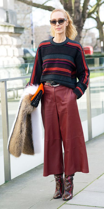 red-culottes-pants-red-sweater-stripe-blonde-pony-sun-brown-shoe-boots-fall-winter-lunch.jpg