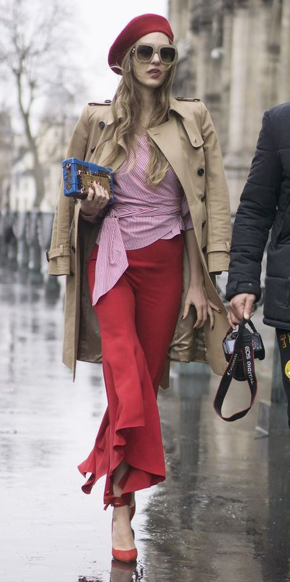 red-culottes-pants-red-top-blouse-tan-jacket-coat-trench-red-shoe-pumps-hat-beret-sun-blonde-fall-winter-lunch.jpg
