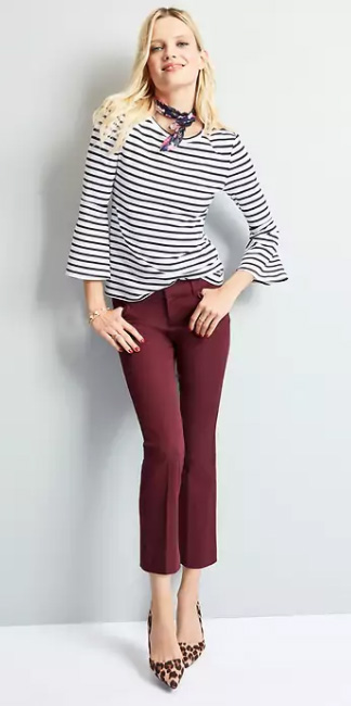 burgundy-culottes-pants-tan-shoe-pumps-leopard-print-black-tee-stripe-black-scarf-neck-howtowear-fall-winter-blonde-work.jpg