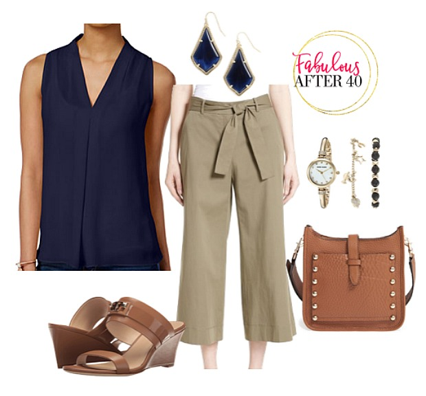tan-culottes-pants-blue-navy-top-blouse-earrings-watch-cognac-bag-cognac-shoe-sandalw-spring-summer-work.jpg
