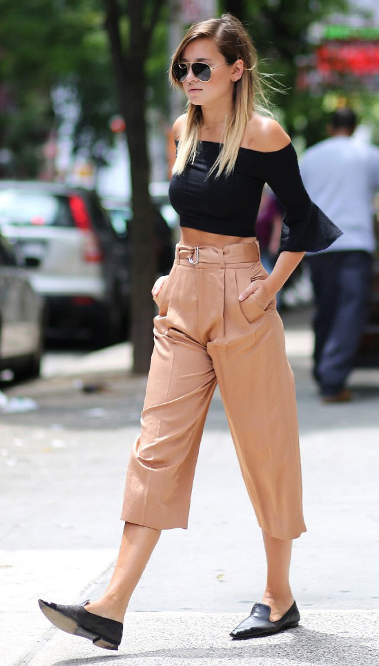 tan-culottes-pants-black-crop-top-offshoulder-sun-black-shoe-loafers-spring-summer-blonde-lunch.jpg