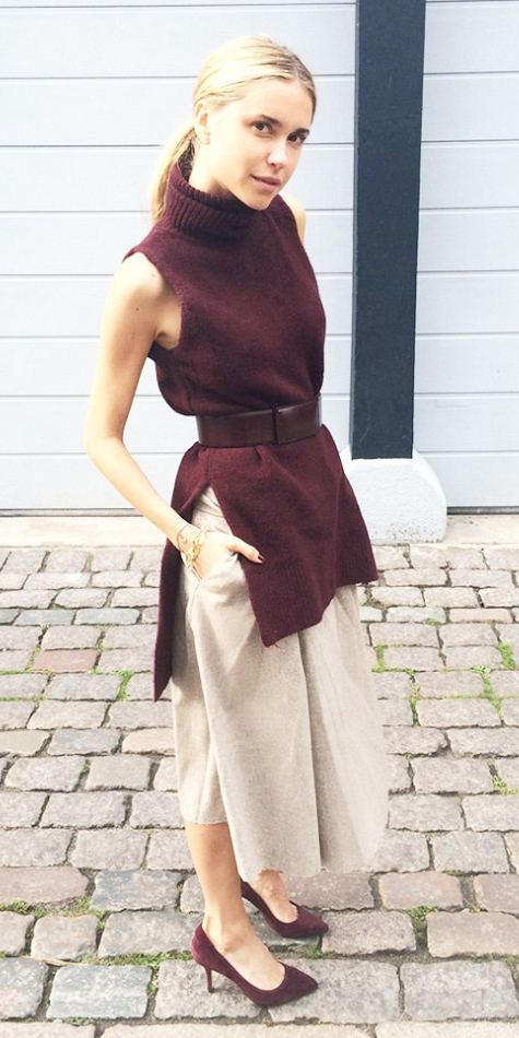 o-tan-culottes-pants-burgundy-sweater-sleeveless-blonde-pony-burgundy-shoe-pumps-spring-summer-style-fashion-wear-belt-turtleneck-office-work.jpg