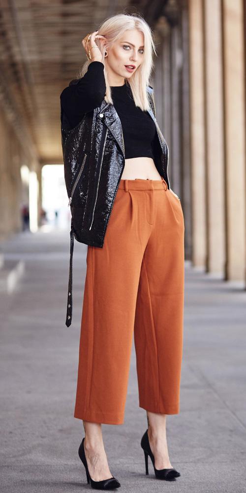 camel-culottes-pants-black-crop-top-black-jacket-moto-black-shoe-pumps-fall-winter-blonde-dinner.jpg
