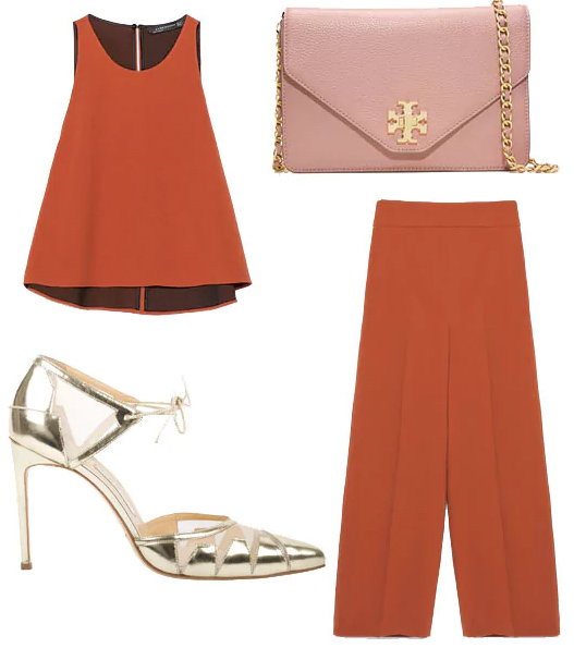 orange-culottes-pants-orange-top-mono-matchset-pink-bag-tan-shoe-pumps-gold-spring-summer-dinner.jpg