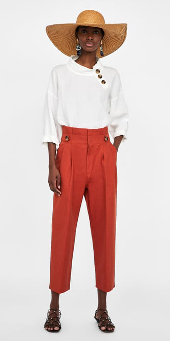 orange-culottes-pants-white-top-earrings-black-shoe-sandals-hat-straw-spring-summer-weekend.jpg