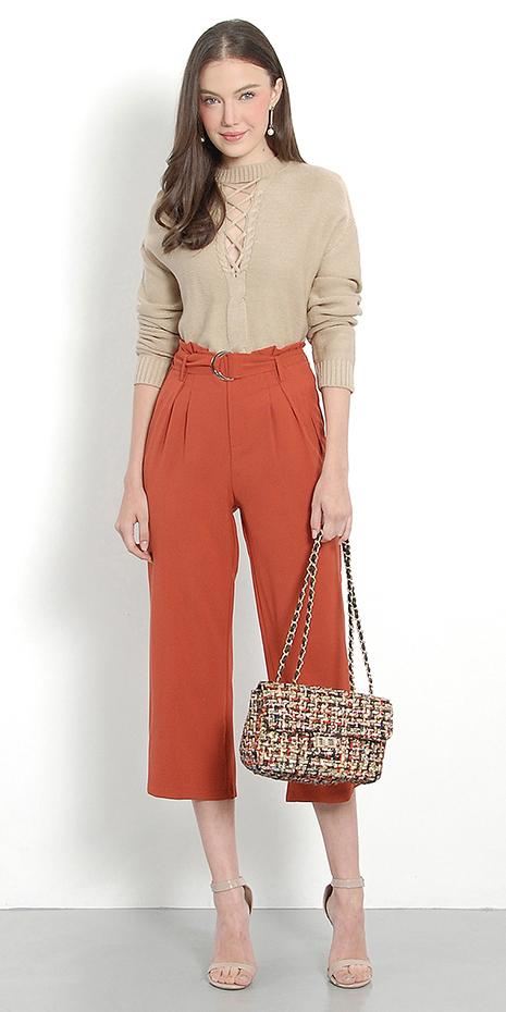 orange-culottes-pants-tan-sweater-earrings-tan-bag-tan-shoe-sandalh-spring-summer-hairr-dinner.jpg