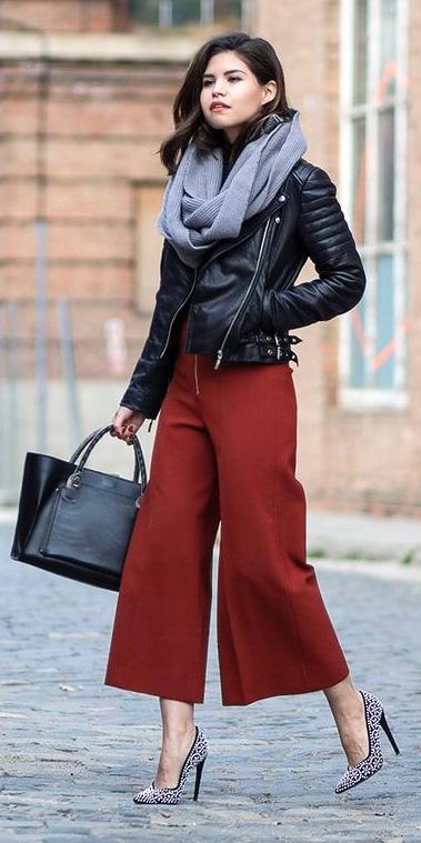 orange-culottes-pants-black-jacket-moto-grayl-scarf-black-bag-tote-gray-shoe-pumps-fall-winter-brun-lunch.jpg