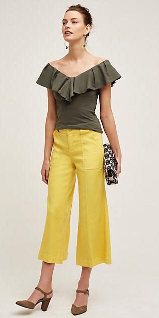 yellow-culottes-pants-green-olive-top-hairr-earrings-bun-white-bag-clutch-tan-shoe-pumps-spring-summer-style-fashion-wear-ruffles-evening-night-dinner.jpg