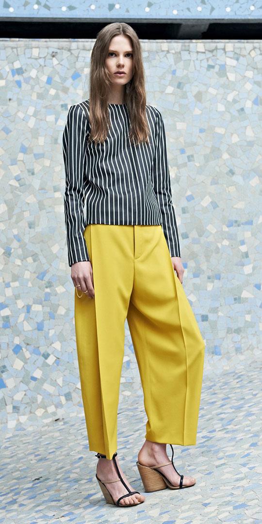 yellow-culottes-pants-black-top-vertical-stripe-black-shoe-sandalw-spring-summer-blonde-work.jpg