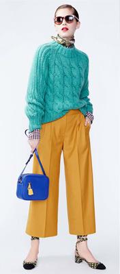 yellow-culottes-pants-green-emerald-sweater-bun-sun-hairr-blue-bag-cobalt-fall-winter-style-fashion-wear-cableknit-yellow-shoe-flats-jcrew-lunch.jpg