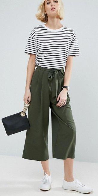 green-olive-culottes-pants-black-tee-stripe-blonde-bob-white-shoe-sneakers-watch-spring-summer-weekend.jpg