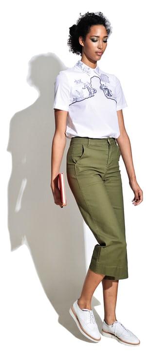 green-olive-culottes-pants-white-top-white-shoe-brogues-bun-spring-summer-brun-weekend.jpg