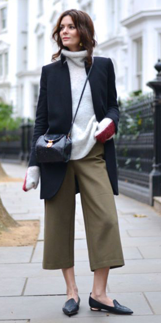 green-olive-culottes-pants-grayl-sweater-turtleneck-black-jacket-coat-brun-black-bag-black-shoe-loafers-fall-winter-weekend.jpg
