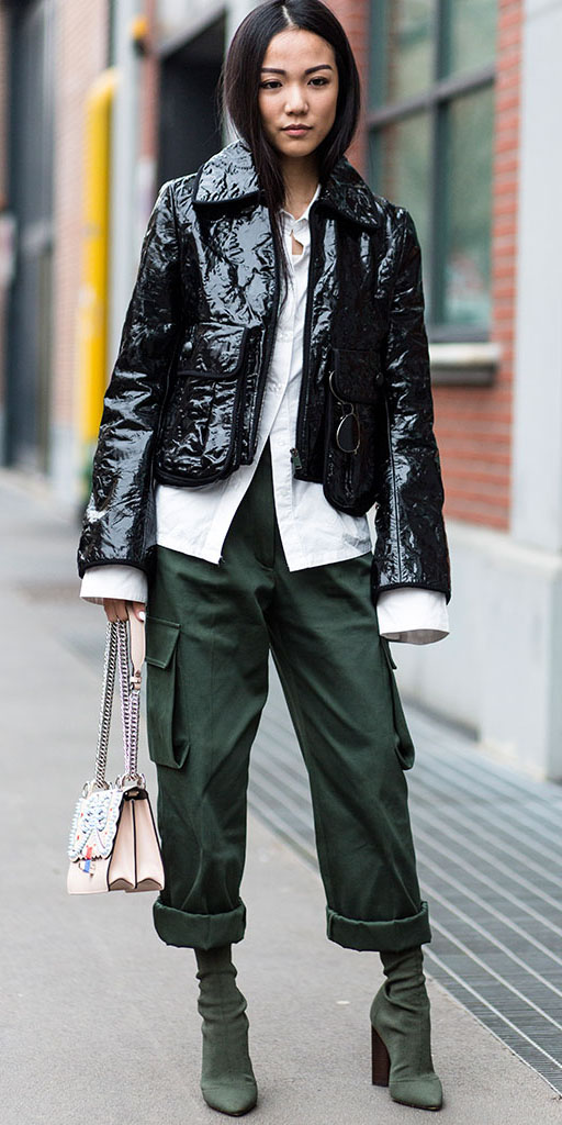 green-olive-culottes-pants-white-collared-shirt-green-shoe-boots-black-jacket-coat-puffer-fall-winter-brun-lunch.jpg