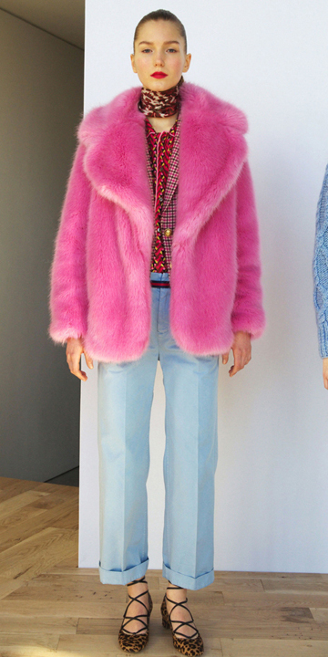 blue-light-culottes-pants-red-top-blouse-pink-magenta-jacket-coat-fur-hairr-tan-shoe-flats-leopard-fall-winter-style-fashion-wear-neck-brown-scarf-jcrew-lunch.jpg