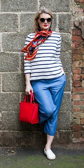 blue-med-culottes-pants-blue-navy-tee-stripe-red-scarf-blonde-sun-red-bag-white-shoe-sneakers-spring-summer-weekend.jpg
