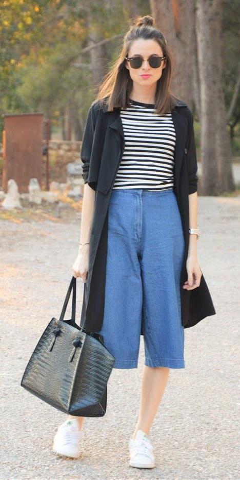 blue-med-culottes-pants-black-tee-stripe-black-jacket-coat-trench-lob-sun-black-bag-tote-white-shoe-sneakers-spring-summer-weekend.jpg