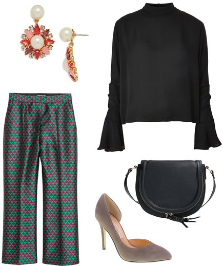 blue-med-culottes-pants-gray-shoe-pumps-print-black-bag-red-earrings-pearl-black-top-blouse-fall-winter-thanksgiving-outfits-holidays-dinner.jpg