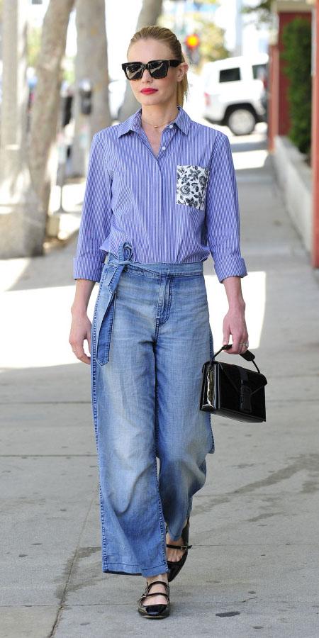 blue-med-culottes-pants-blue-med-collared-shirt-blonde-pony-black-bag-sun-black-shoe-flats-katebosworthstyle-spring-summer-lunch.jpg