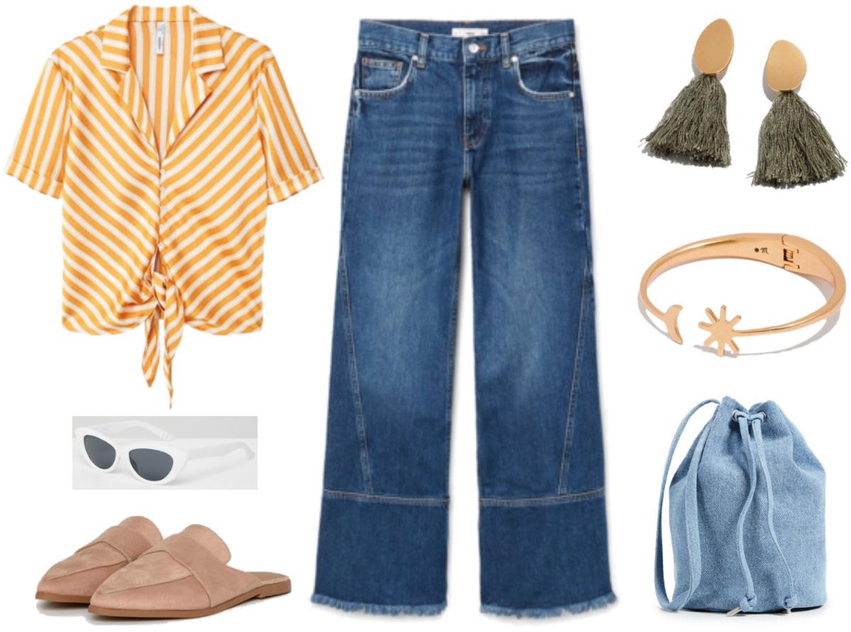 blue-med-culottes-pants-blue-bag-earrings-bracelet-sun-tan-shoe-loafers-stripe-yellow-collared-shirt-spring-summer-weekend.jpg