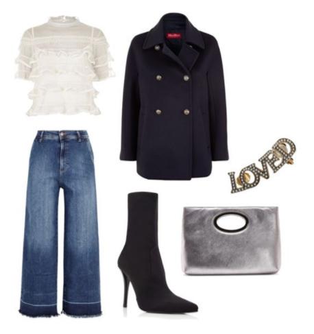 blue-med-culottes-pants-white-top-blouse-gray-bag-clutch-silver-black-shoe-booties-black-jacket-coat-peacoat-fall-winter-dinner.jpg