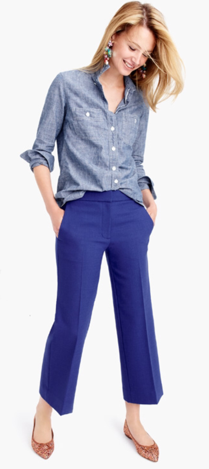 blue-navy-culottes-pants-blue-light-collared-shirt-blonde-pink-earrings-fall-winter-style-fashion-wear-chambray-cobalt-tan-shoe-flats-lunch.jpg