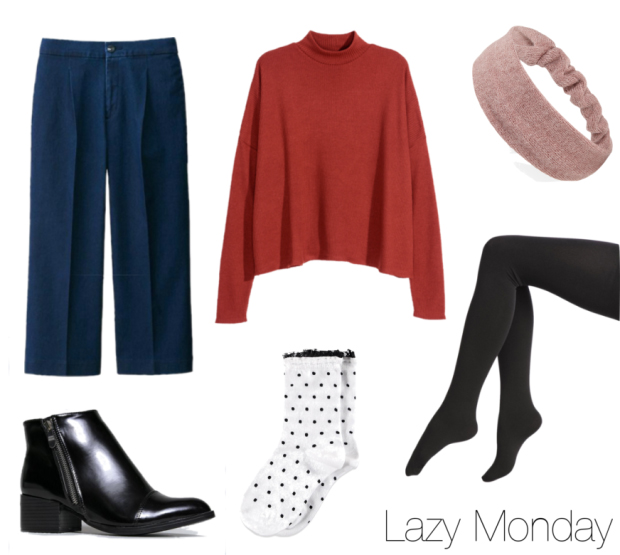 blue-navy-culottes-pants-red-sweater-black-shoe-booties-head-howtowear-fashion-style-outfit-fall-winter-socks-dot-black-tights-layer-lunch.jpg