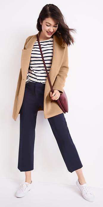 blue-navy-culottes-pants-blue-navy-tee-stripe-red-bag-crossbody-brun-spring-summer-style-fashion-wear-tan-jacket-coat-white-shoe-sneakers-weekend.jpg