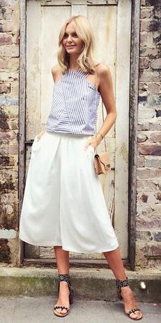 white-culottes-pants-blue-light-top-stripe-tan-bag-spring-summer-blonde-lunch.jpg
