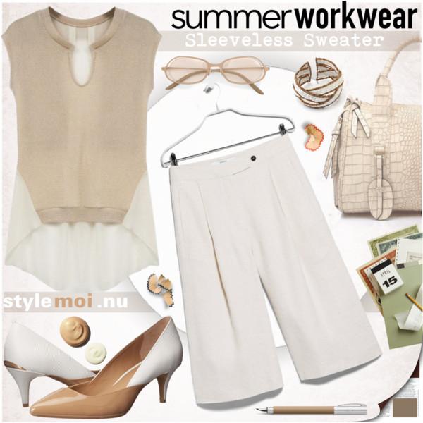 white-culottes-pants-tan-shoe-pumps-white-bag-tan-sweater-sleeveless-spring-summer-work.jpg