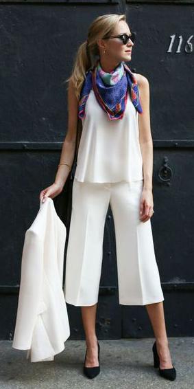 white-culottes-pants-pony-purple-royal-scarf-neck-black-shoe-pumps-suit-white-jacket-blazer-white-cami-spring-summer-blonde-work.jpg