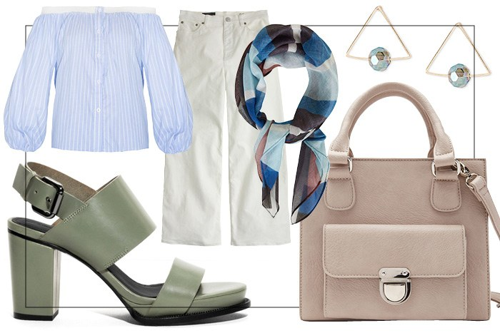 white-culottes-pants-blue-med-scarf-neck-earrings-white-bag-green-shoe-sandalh-blue-light-top-offshoulder-spring-summer-lunch.jpg