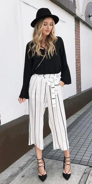 white-culottes-pants-black-top-blouse-peasant-vertical-stripe-hat-black-shoe-pumps-spring-summer-blonde-lunch.jpg