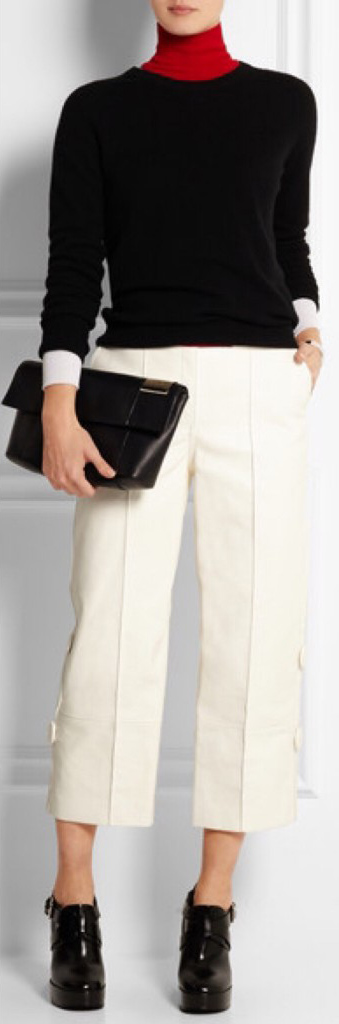 white-culottes-pants-black-sweater-red-tee-turtleneck-black-shoe-booties-black-bag-clutch-fall-winter-lunch.jpg
