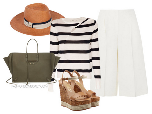 white-culottes-pants-black-sweater-stripe-tan-shoe-sandalw-hat-green-bag-howtowear-fashion-style-outfit-spring-summer-lunch.jpg