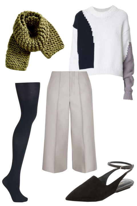 white-culottes-pants-white-sweater-green-olive-scarf-howtowear-fashion-style-outfit-fall-winter-graphic-black-tights-black-shoe-flats-slides-weekend.jpg
