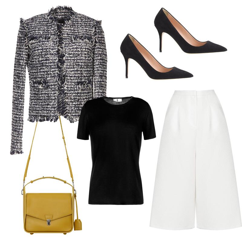 white-culottes-pants-black-tee-yellow-bag-black-shoe-pumps-tweed-black-jacket-lady-fall-winter-work.jpg