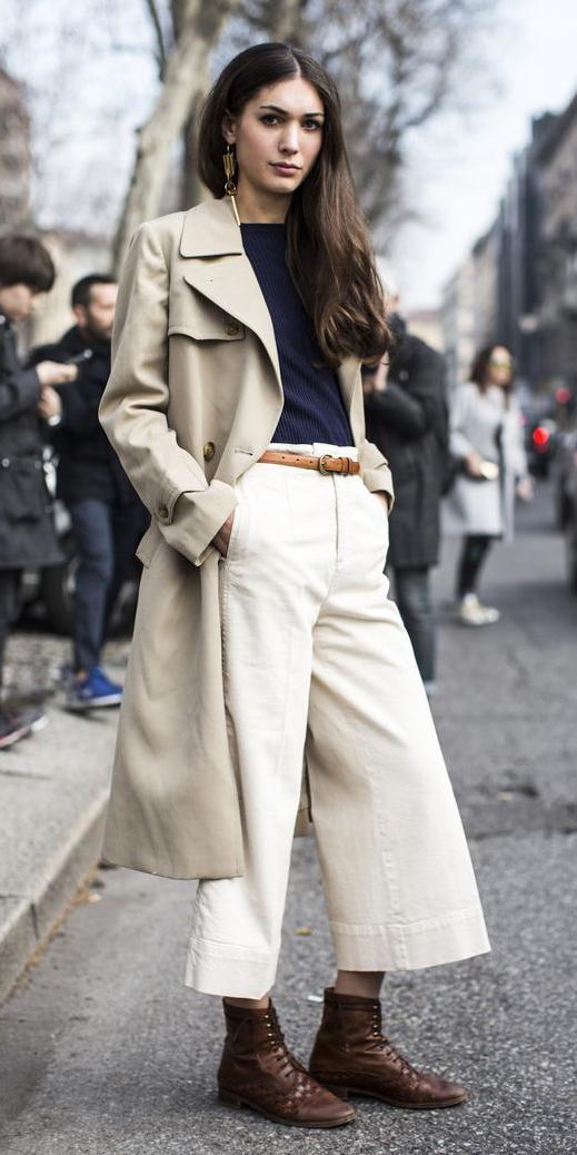 white-culottes-pants-belt-earrings-brown-shoe-booties-trench-blue-navy-tee-tan-jacket-coat-fall-winter-brun-lunch.jpg