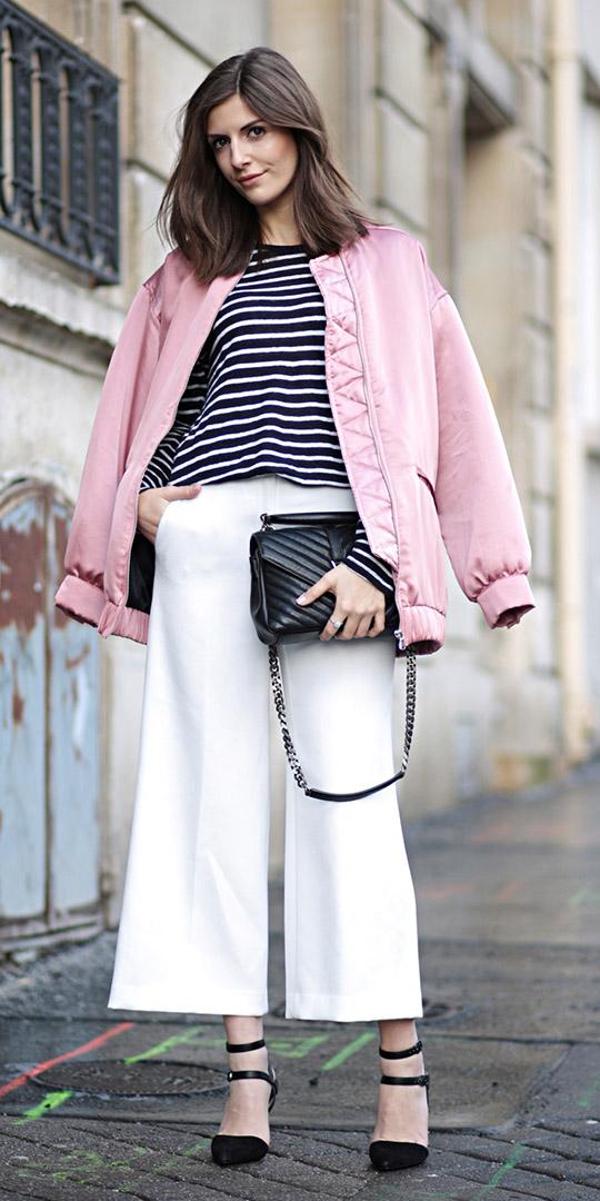 white-culottes-pants-black-bag-black-tee-stripe-black-shoe-pumps-pink-light-jacket-bomber-fall-winter-brun-lunch.jpg