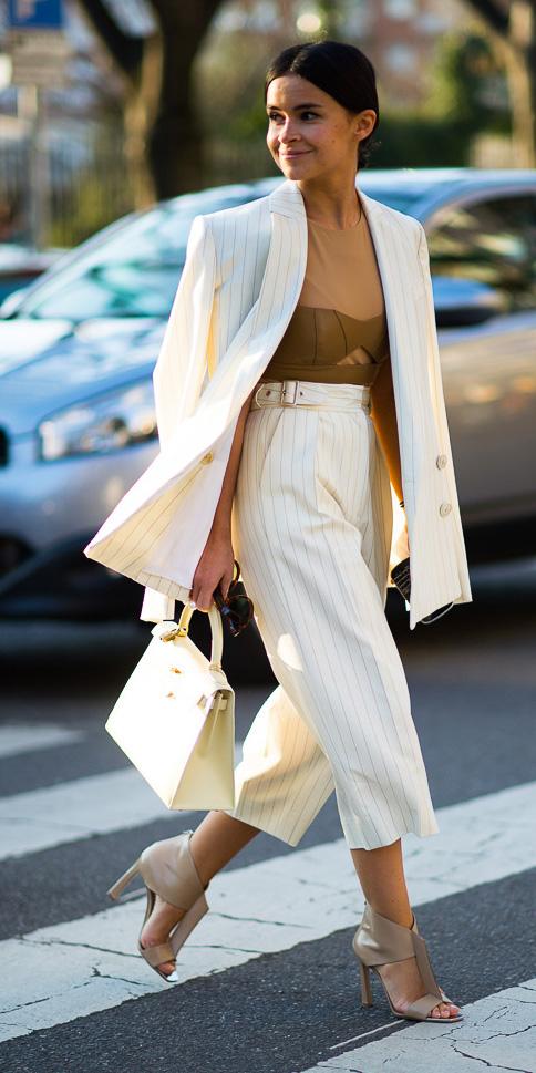 white-culottes-pants-suit-camel-top-white-jacket-blazer-pinstripe-white-bag-bun-tan-shoe-sandalh-spring-summer-brun-dinner.jpg