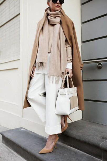 white-culottes-pants-tan-sweater-tan-scarf-white-bag-tote-camel-jacket-coat-layer-tan-shoe-pumps-fall-winter-work.jpg