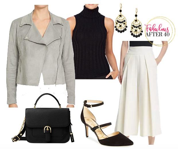 white-culottes-pants-black-top-turtleneck-earrings-grayl-jacket-moto-black-bag-black-shoe-pumps-fall-winter-work.jpg