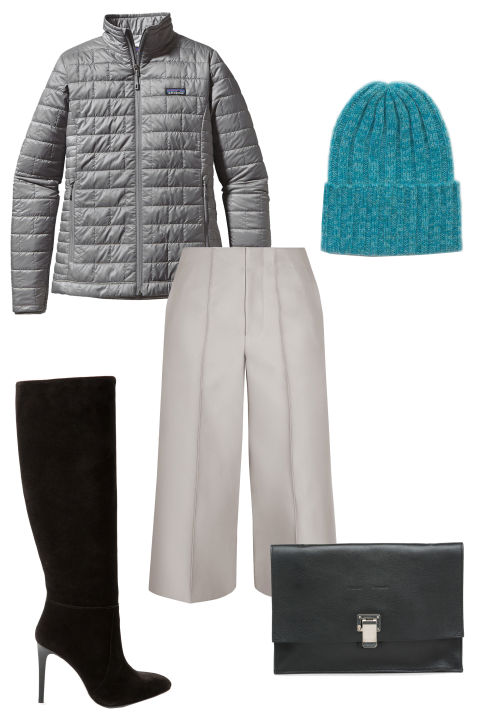 white-culottes-pants-grayl-jacket-coat-puffer-howtowear-fashion-style-outfit-fall-winter-black-shoe-boots-beanie-basic-black-bag-clutch-dinner.jpg