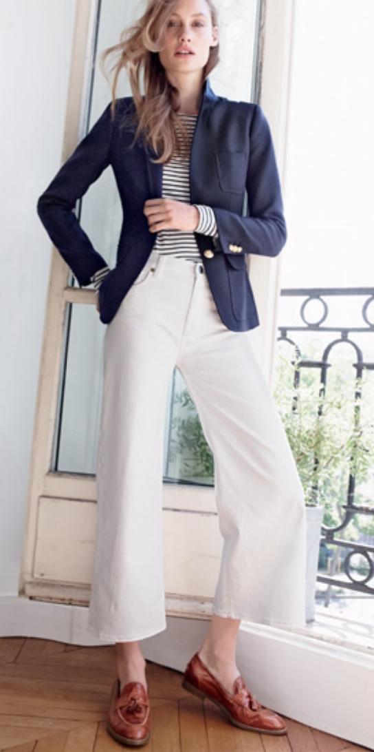 white-culottes-pants-blue-navy-tee-stripe-blue-navy-jacket-blazer-blonde-cognac-shoe-loafers-spring-summer-style-fashion-wear-office-jcrew-work.jpg