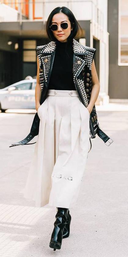 white-culottes-pantss-black-top-turtleneck-brun-sun-black-shoe-boots-black-vest-moto-fall-winter-dinner.jpg